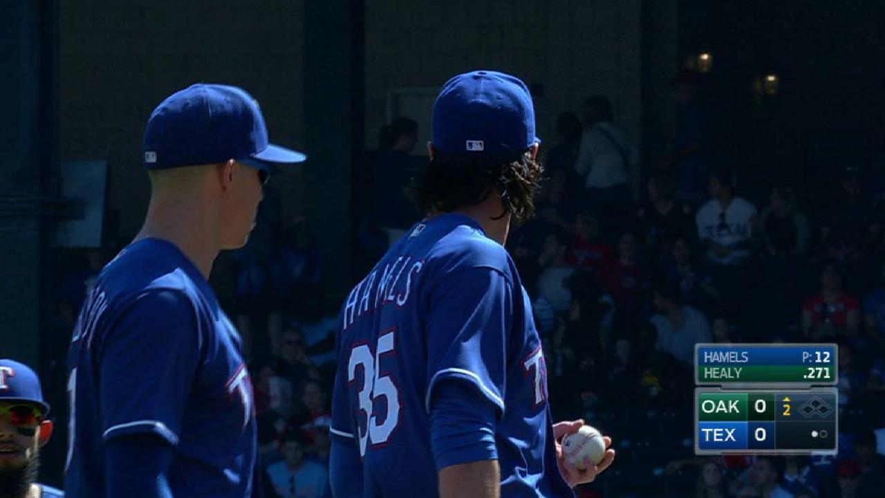 Hamels gets hit, stays with play