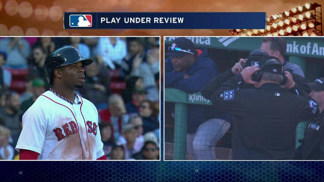 Red Sox challenge foul call