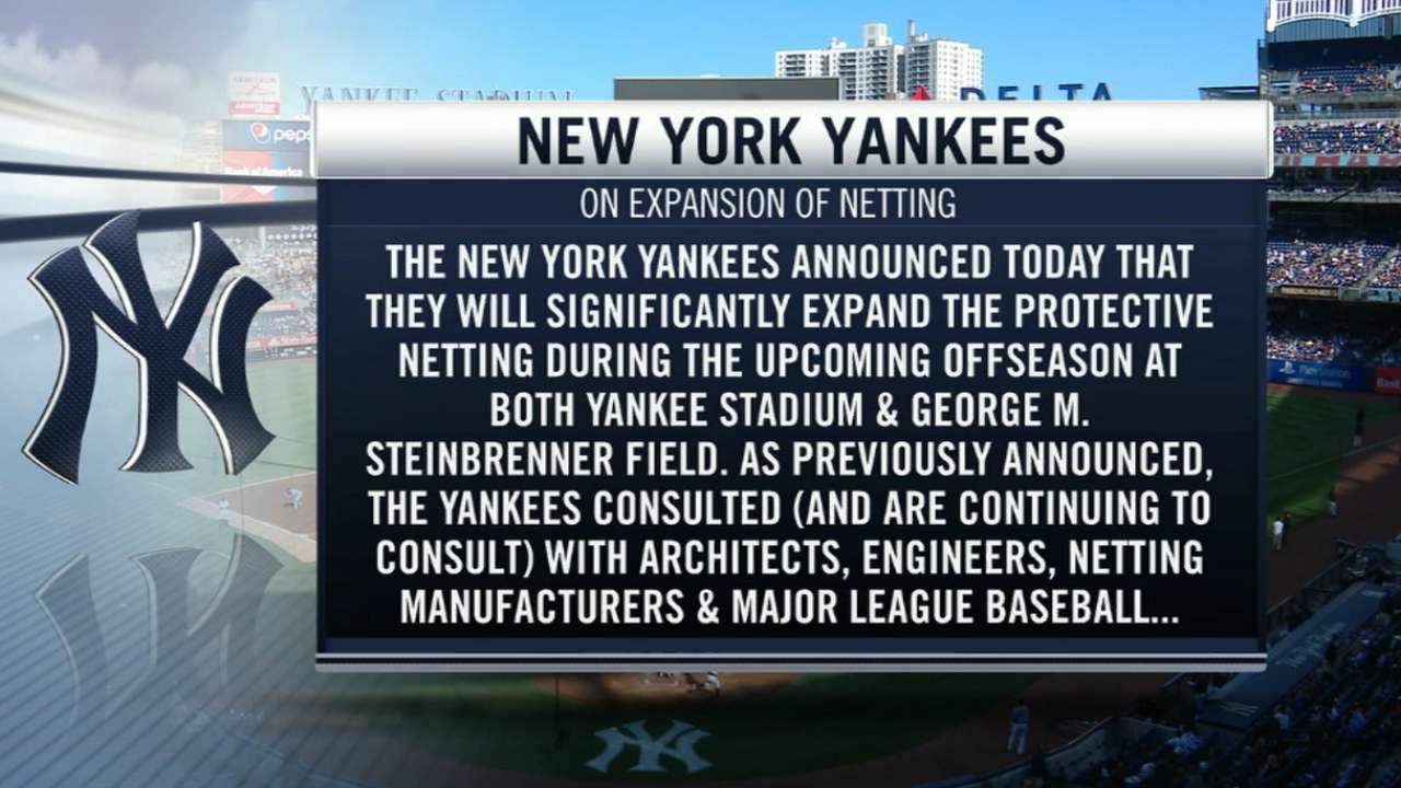 Yanks to expand protective netting at Stadium