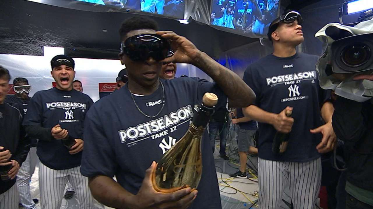 Yankees celebrate Wild Card win