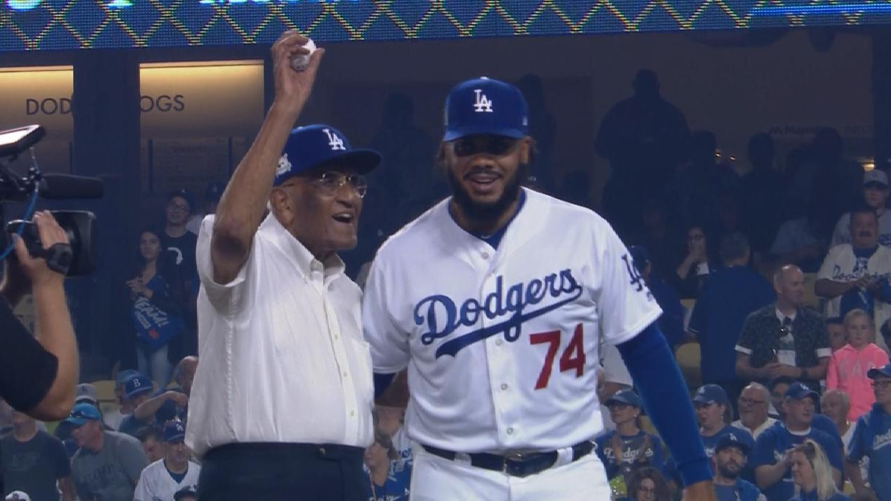 Newcombe throws out first pitch