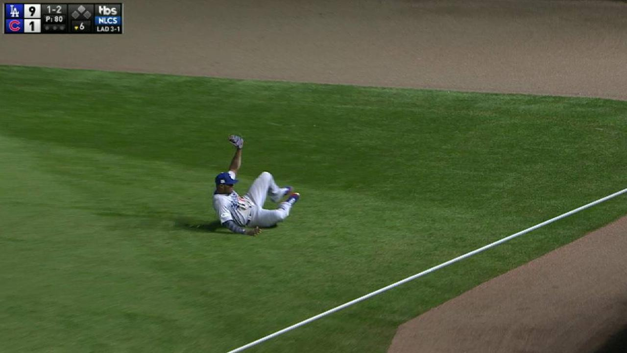 Puig's sliding grab in right