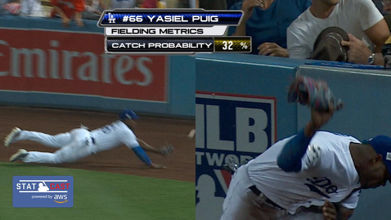 Statcast of the Day: Puig's near diving grab