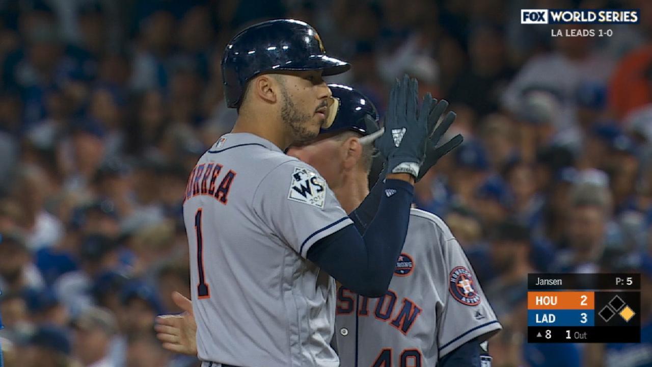 Excited Correa engages in rare bat flip