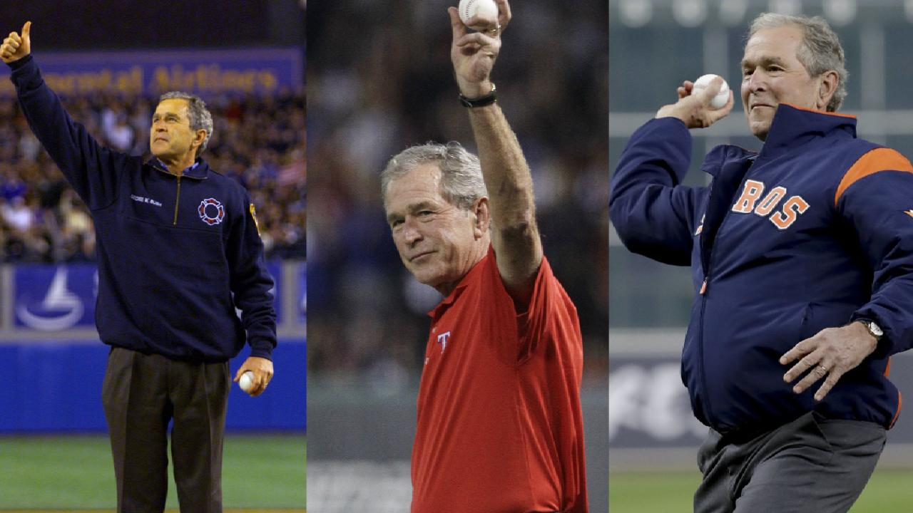 First pitches by President Bush