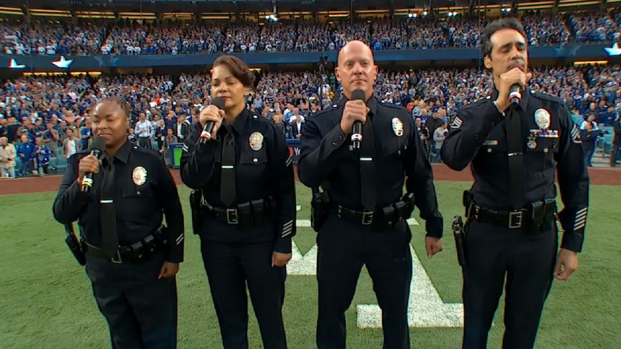 LAPD Quartet sings the anthem