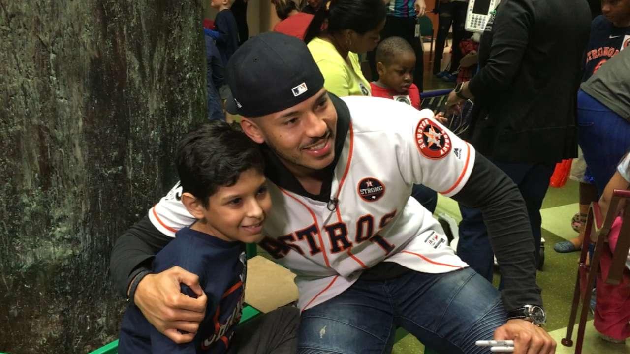 Correa brightens kids' day at Houston hospital