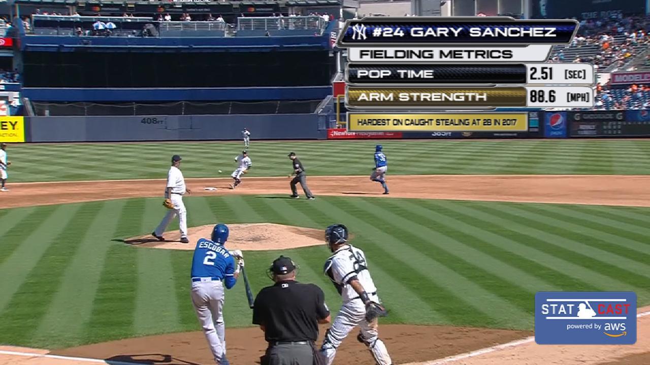 Statcast: Sanchez shows off arm
