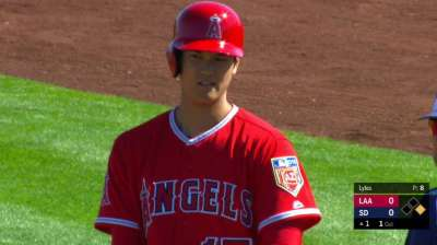 Ohtani slaps RBI single in offensive debut