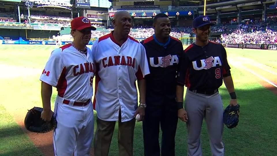 Griffey, Jenkins' first pitch