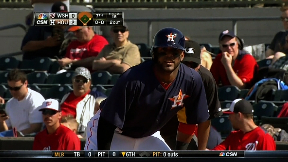 Villar hustles out a single