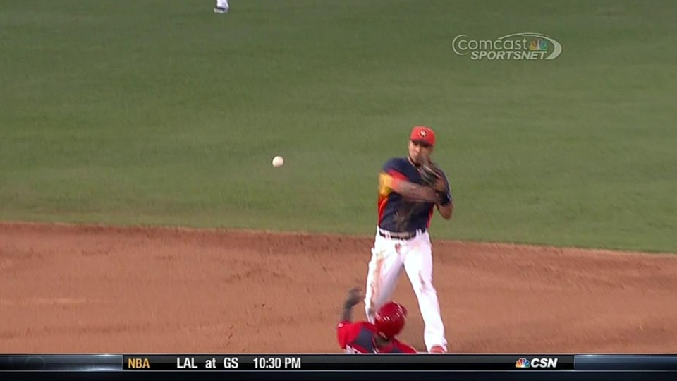 Owings scores on double play