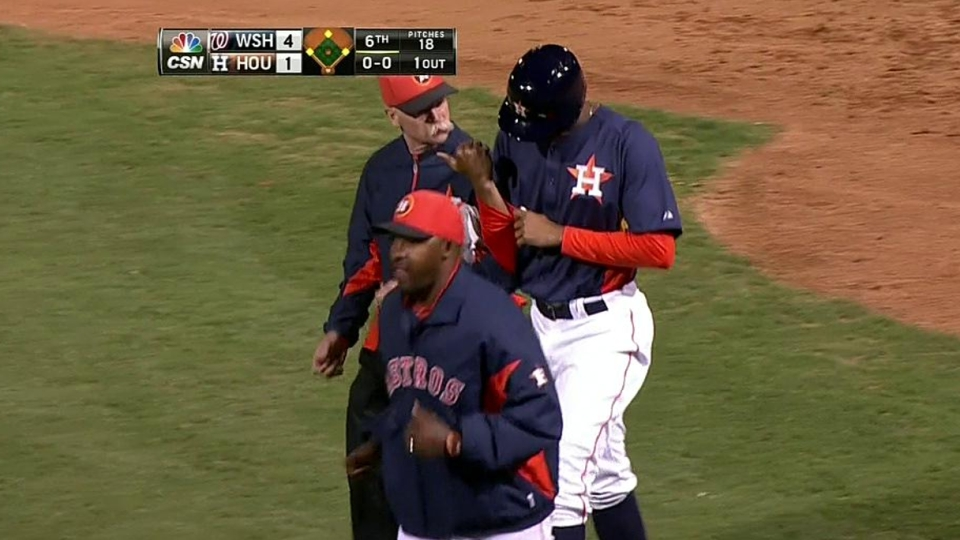 Maxwell hit by pitch, exits game