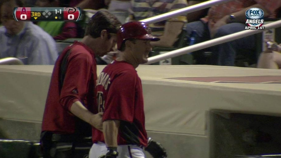 Bloomquist exits after foul ball