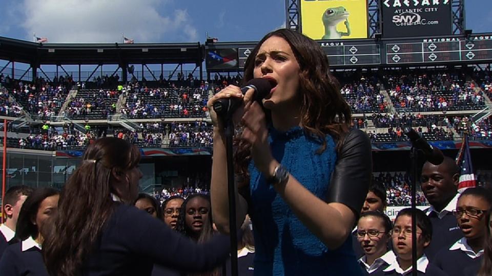 Rossum sings national anthem