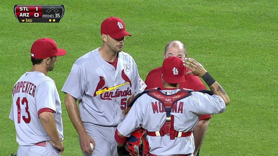 Wainwright hit by liner
