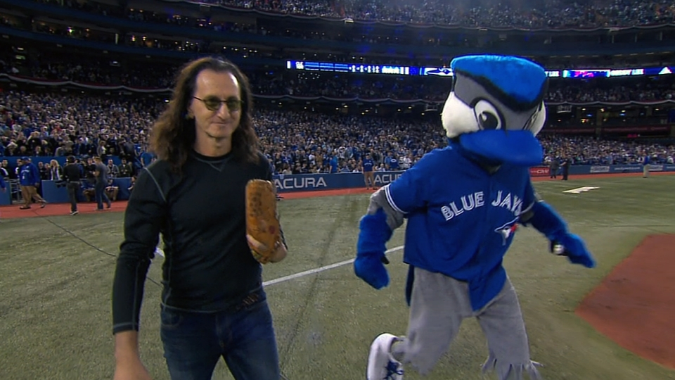 Geddy Lee tosses first pitch