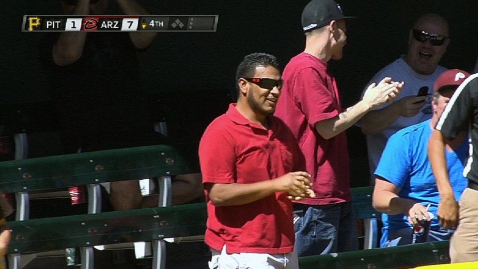Fan catches Pollock's homer