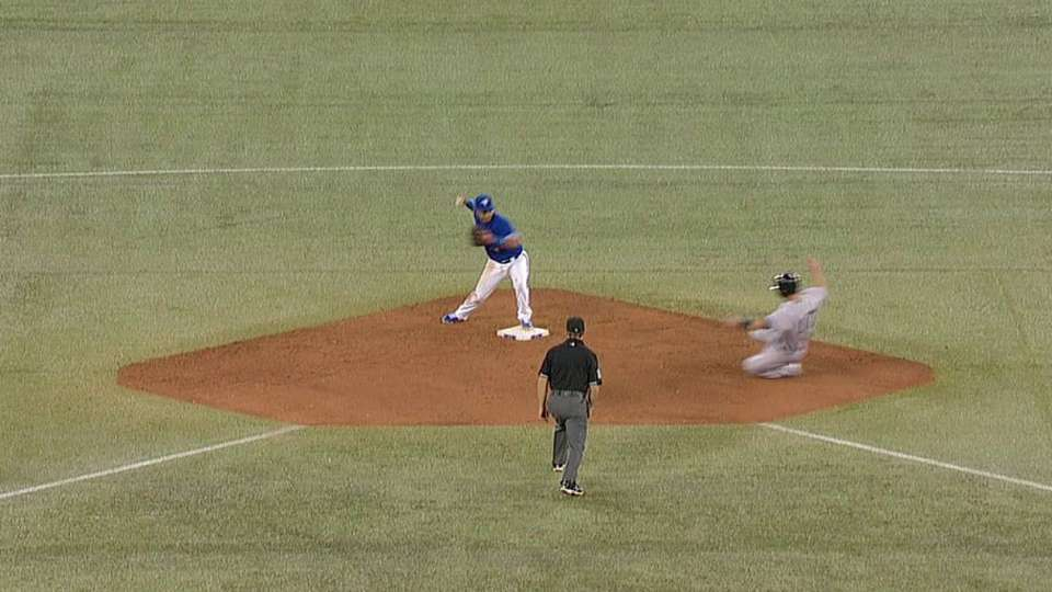 Lawrie starts slick double play