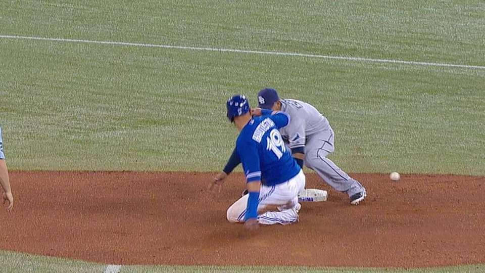 Bautista steals second