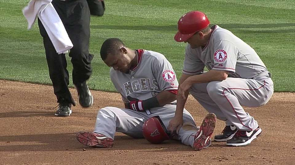 Aybar gets shaken up