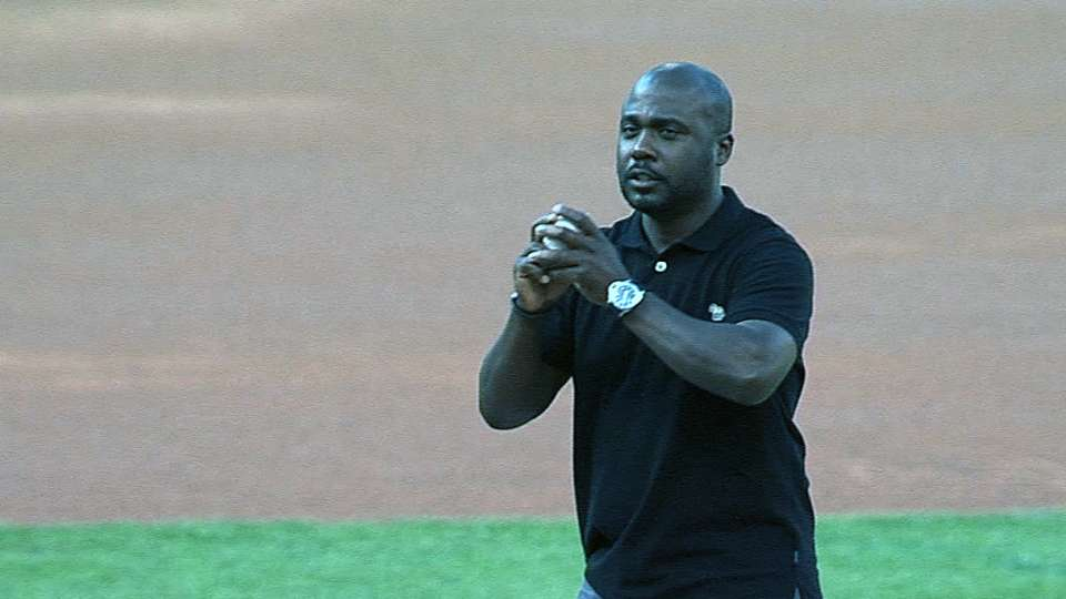 Faulk throws out first pitch