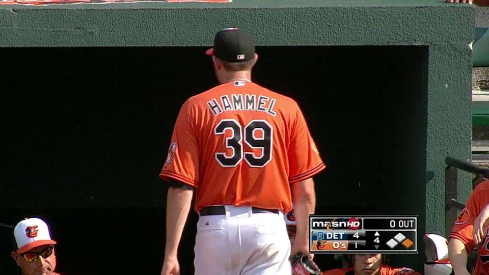 Hammel tossed after hit by pitch