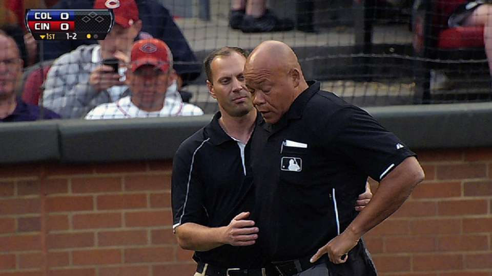 Home-plate umpire leaves game