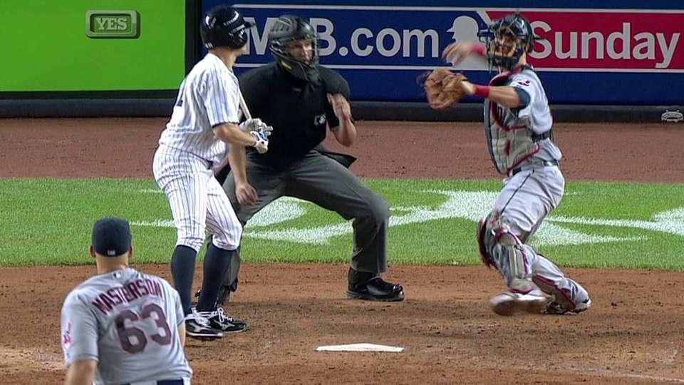 Romine's first MLB stolen base