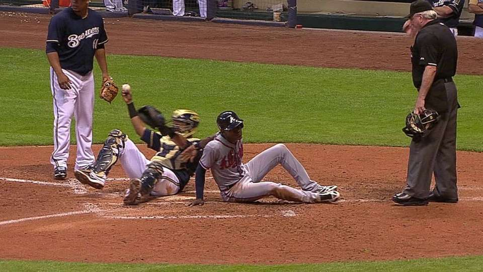 Peralta gets the out at home