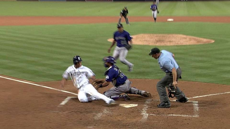 Lopez gets the out at the dish
