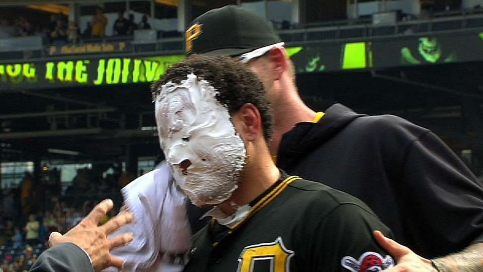 Players celebrate with pie
