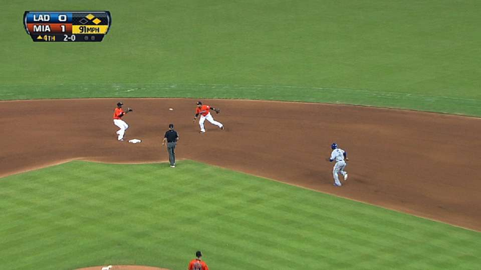 Marlins turn four double plays