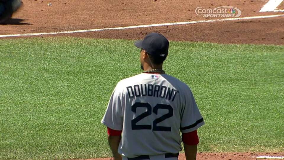 Doubront gets hit with liner