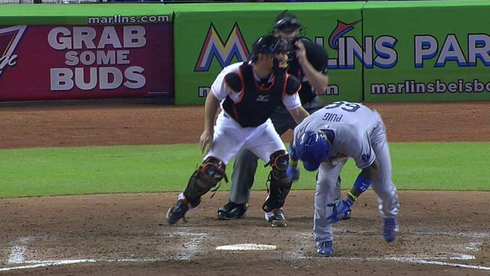Puig hit by pitch