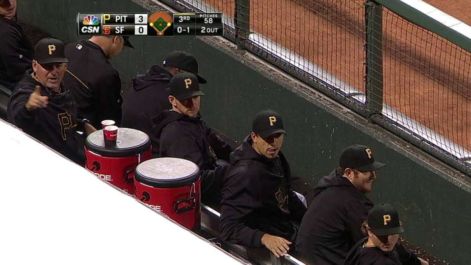Foul ball scatters Pirates