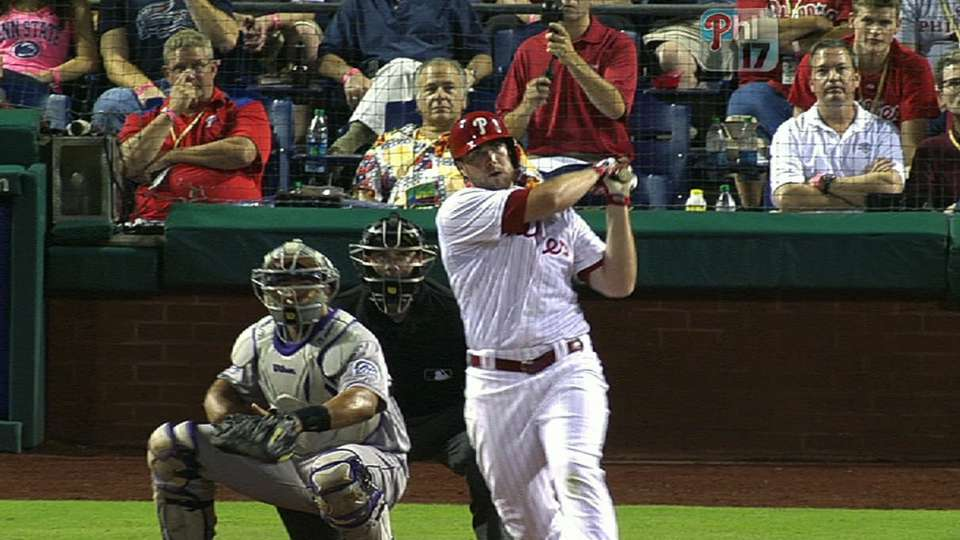 Ruf shines with bat, glove