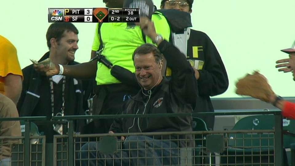 Foul ball hits fan