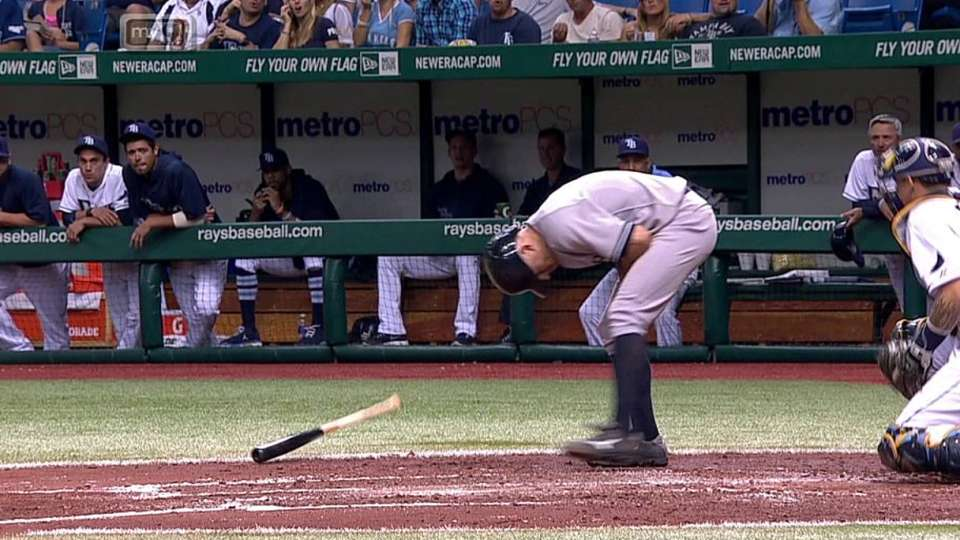 Gardner gets hit by a pitch