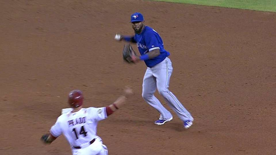 Goins starts a double play