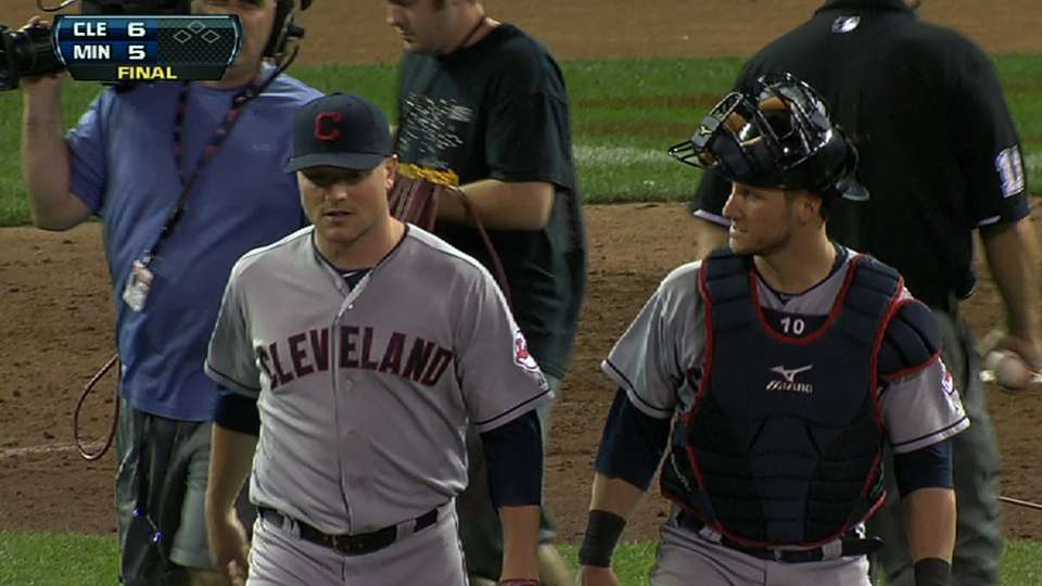 Indians hang on in ninth inning