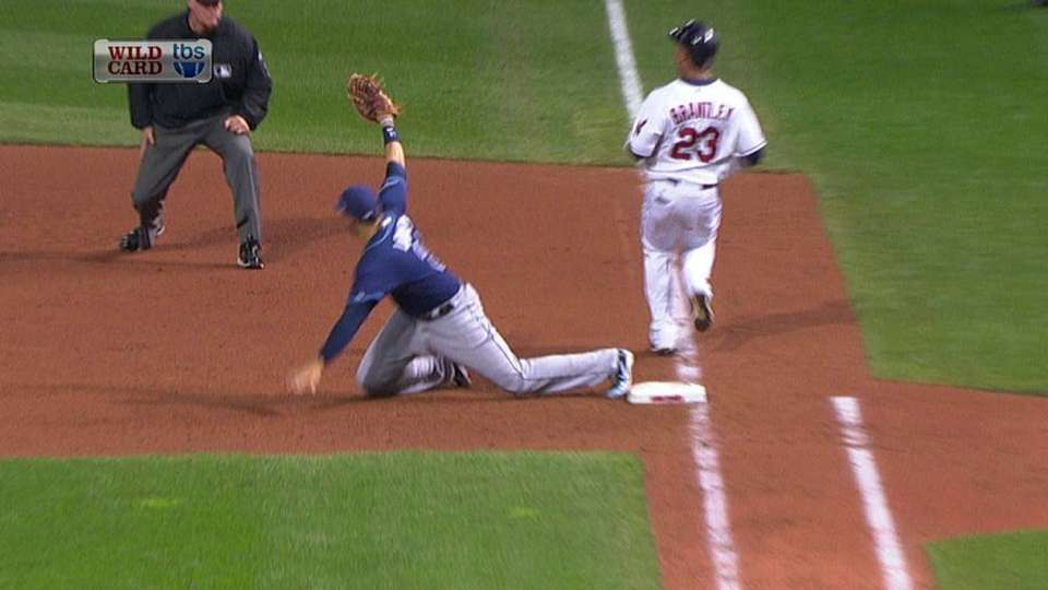 Brantley legs out infield hit
