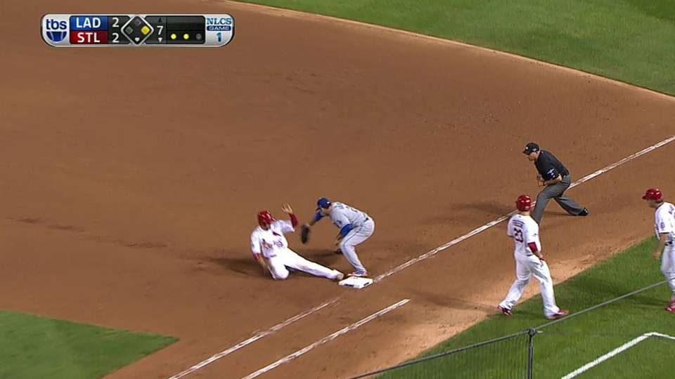 Puig turns double play