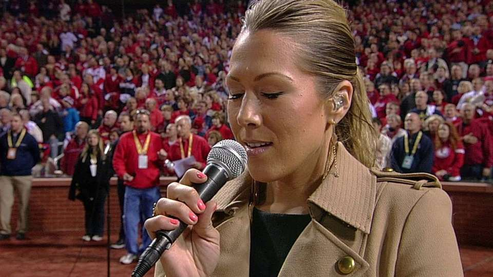 Caillat sings national anthem