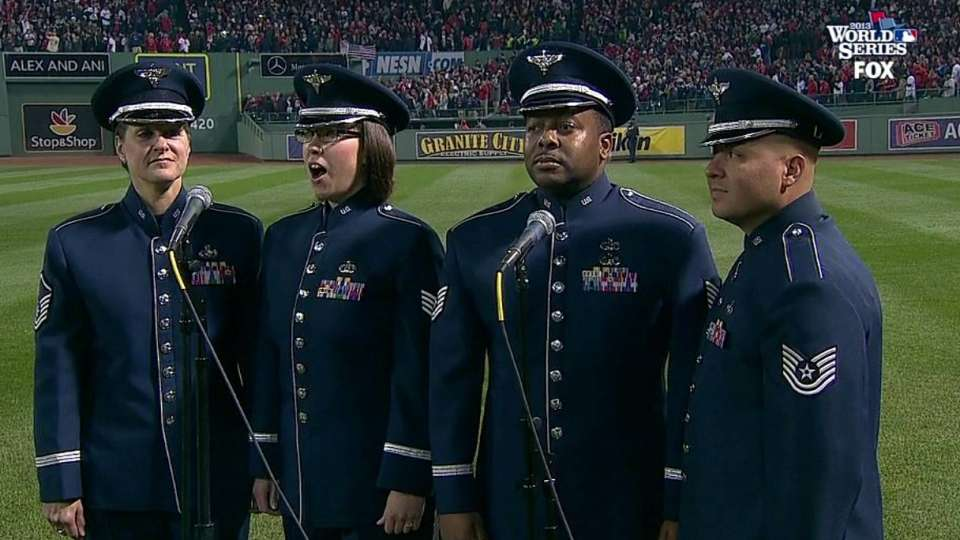 USAF band sings during stretch