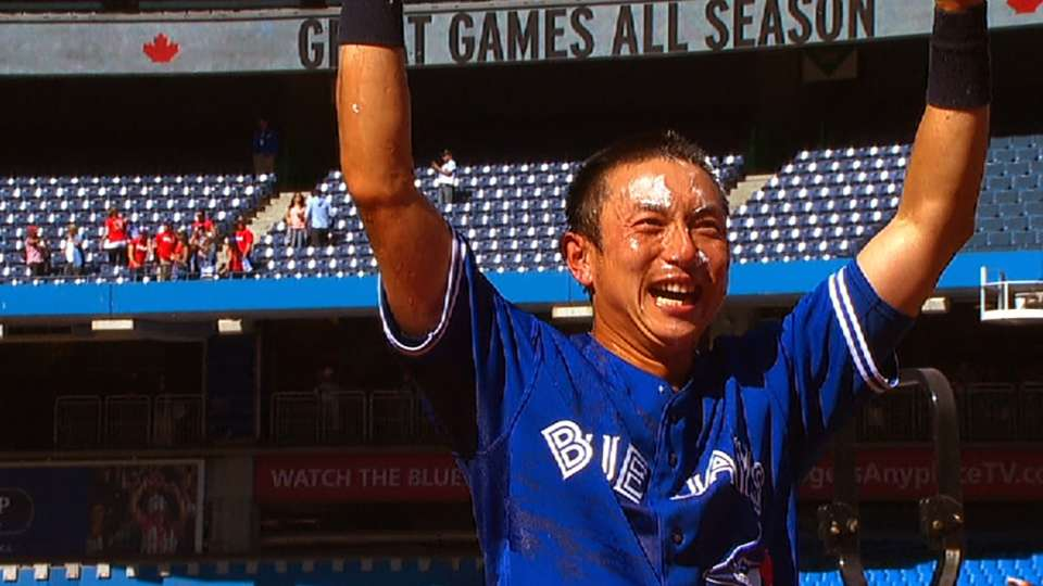 Kawasaki celebrates his walk-off