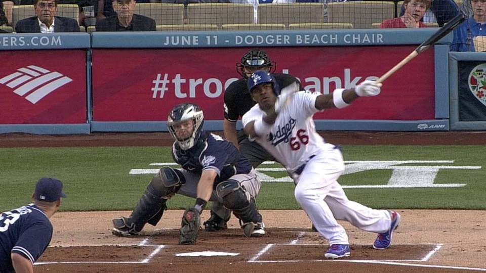 Puig's first MLB hit
