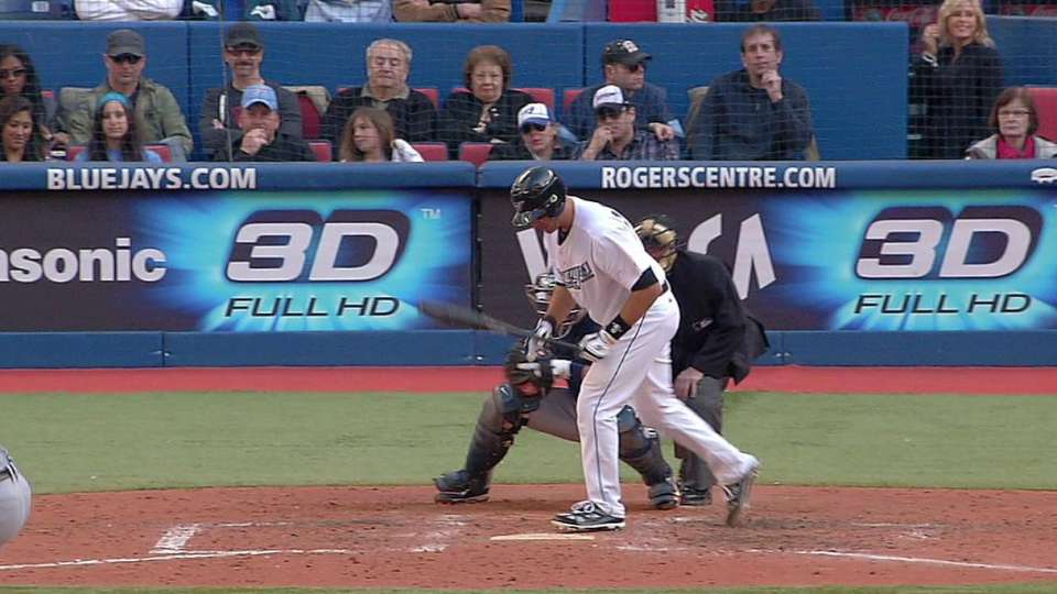 Arencibia breaks up perfect game