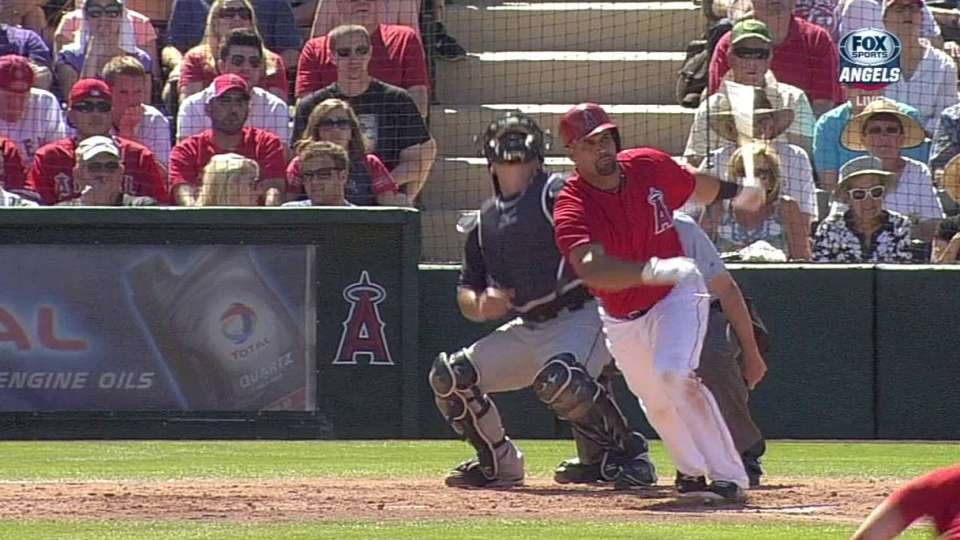 Pujols drives in Trout