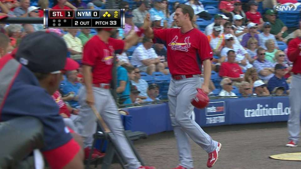 Piscotty scores on double play